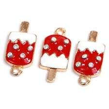 20pcs Gold Plated Red&White Enamel Alloy Ice-cream Jewelry Pendant DIY Crafts L