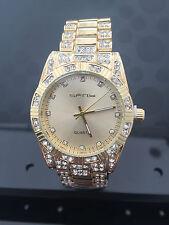 De lujo Hombre diamante  dial cuarzo oro reloj de pulsera hiphop bling iced out