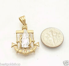 Italian Nautical Anchor with Guadalupe Charm Pendant Real 14K Yellow White Gold