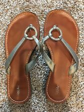 Ladies Mossimo Size 7 Silver Flip Flops With Studded Accent, Worn But Good Cond