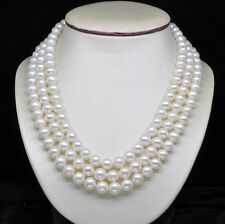 "Natural 3-Strand 6-7MM AAA White Pearl Necklaces (17""18""19"" )"