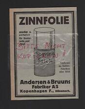 KOPENHAGEN, Werbung 1932, Andersen & Bruuns Fabriker A/S Zinnfolie