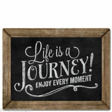 Framed Wooden Chalkboard Sign Wall Plaque Life is a Journey