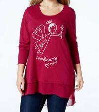 Seven7 Women Long-Sleeve Red Graphic Printed Chiffon-Hem Hi-Lo Tunic Top Plus 1X