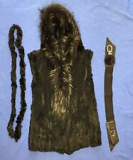 HOODED AUTHENTIC BLACK RABBIT FUR LAPIN MARMOTTE VEST JACKET W/BELTS S/M/L