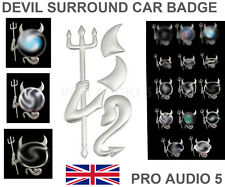 Chrome Devil Demon Car Emblem Sticker Badge Mazda VW Skoda Fits around your logo