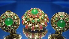 VINTAGE MADE IN AUSTRIA EMERALD & MULTI COLORED STONE BROOCH & EARRING SET