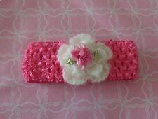 Handmade Crochet Baby Girl , Head Band  White & Pink  Newborn 12 Months