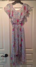 CHELSEA & VIOLET  Dillards Blue & Pink Ruffled Mini Maxi Dress S NWT