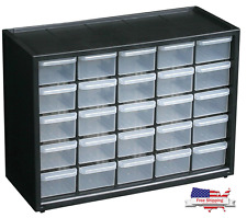Storage Organizer Cabinet Drawer Plastic Container 25 Boxes Parts Bin Toy Garage