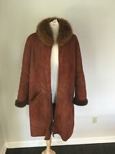 DENIMAX Shearling Jacket Coat Fox Fur Collar Brown Sz M Harpers Furs