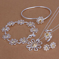 925 Sterling Silver Flowers Bracelet&Ring&Earring&Necklace Set ZBS288