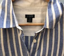 J Crew Striped Linen Shirt Medium Blue White Button Down Blouse Factory Top