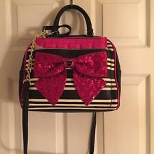 NWT Betsey Johnson Pink Sequin Bow Striped Dot Removable Pouch Black Handbag