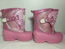 HELLO Kitty winter boots toddler girls size 9-10 Large Pink silver glitter white