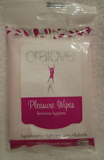 Oralove Pleasure Wipes Feminine Hygiene 30pk Travel Light Clean Scent Hot Sexy