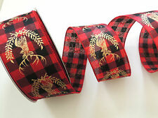 Red Black Buffalo Check Country Plaid Reindeer Head Wired Ribbon Christmas Bows