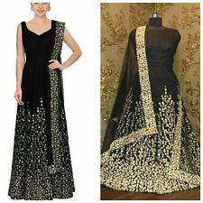 BOLLYWOOD DESIGNER DRESS BLACK RAW SILK UK STOCK INDIAN TRADITIONAL FULLY STITCH