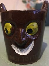 """SHOT GLASS  Or Jigger Vintage JAPAN Brown Pottery """"SHOT TO HELL"""""""