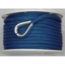 3/8 Inch x 100 Ft Blue Double Braid Nylon Anchor Line for Boats
