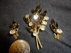 Vintage Austria Black & Clear Rhinestone Brooch / Pin & Clip on Earrings Set