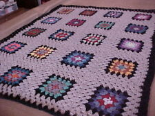 "BEAUTIFUL BRAND NEW HOMEMADE HAND CROCHET GRANNY SQUARE AFGHAN 44""x 34"""