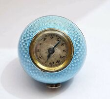 Old Silver Blue Guilloche Enamel Pendant Ball Watch Runs
