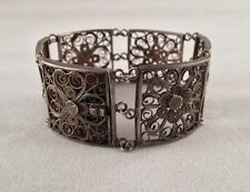 Art Deco Chinese Sterling Silver Square Filigree Bracelet
