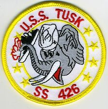 USS Tusk SS 426 - Elephant holding Sub - 3 inch BC Patch Cat No C5732