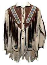 Western Men's Real Leather Jacket Fringed & Beaded Coat, Msg for Size