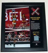 WWE PLAQUE EXTREME RULES SIGNED AUTOGRAPH TWINS NIKKI BELLA & BRIE ONLY 1/1