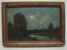 Henri-Joseph Harpignies  Moonrise Oil on Panel 19th C French Barbizon School