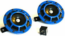 2PC BLUE SUPER LOUD GRILLE MOUNT COMPACT ELECTRIC BLAST TONE HORN (FITS:TOYOTA)
