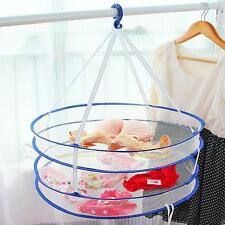 2 Layers Drying Rack Net Folding Hanging Clothes Laundry Sweater Dryer Basket