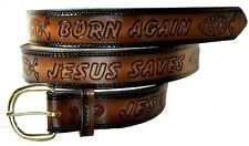 JESUS SAVES CHRISTIAN CROSS SAVIOUR KING JEW WESTERN LEATHER BELT w BUCKLE USA