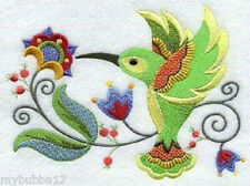 JACOBEAN HUMMINGBIRD NEW DESIGN EMBROIDERED SET 2 BATHROOM HAND TOWELS by laura