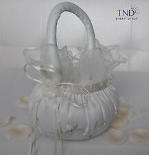 WEDDING CEREMONY SATIN FLOWER GIRL BASKET WITH EMBROIDERED FLOWERS & RHINESTONES