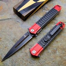 JTEC Spring Assisted Opening RED / BLACK Stiletto Pocket Knife NEW JT121