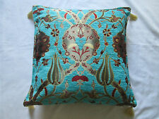 Turkish Turquoise Blue Tapestry Floral Tulip Tassel Chenille Cushion Cover