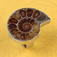 Natural Druzy Ammonite Fossil Shell Stone Unisex Adjustable Finger Ring Jewelry
