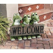 Garden Welcome Sign Alligator Statue Sculpture Florida Gator Yard lawn Art Decor