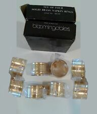 8 NIB Bloomingdales SOLID BRASS NAPKIN RING HOLDERS Vintage Design (2 SETS OF 4)