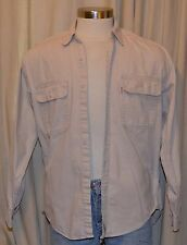 Levi's Long Sleeve Beige Tan 100% Cotton Button Down Denim Shirt Mens Medium