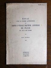 Émile Mathias ESSAI SUR LA PLUVIOMÉTRIE dans le Puy-de-Dôme  c1939 CLIMATOLOGIE