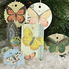 Set of 36  Image Butterfly Paper Christmas Ornaments Gift Tags Cavallini NEW