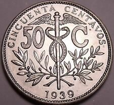 Large Rare Gem Uncirculated Bolivia 1939 50 Centavos~Only Year Made~Free Ship