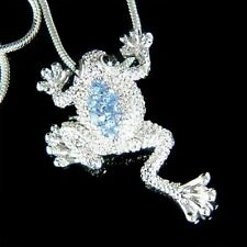 Blue w Swarovski Crystal ~LEAP FROG Toad Wildlife Charm Pendant Chain Necklace