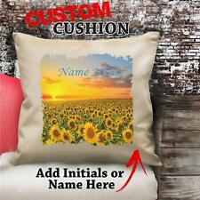 Personalised Sunflower Field Vintage Cushion Custom Canvas Cover Gift NC187