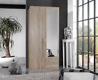 SlumberHaus German 'Berlin' 2 Door & 2 Drawers Oak and Mirror Door Wardrobe
