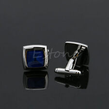 Men's Stainless Steel Royal Blue Square Cuff Links Wedding Party Shirt Cufflinks